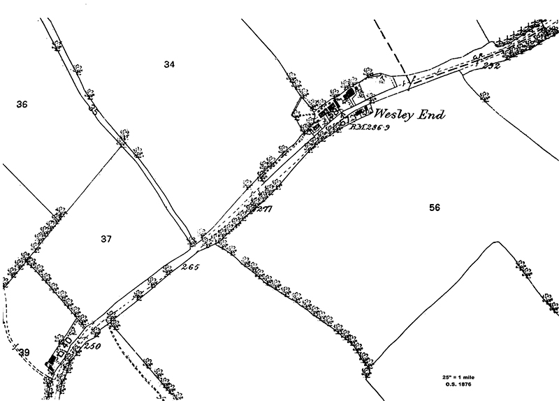 Map of cottages in Wesley End in 1873