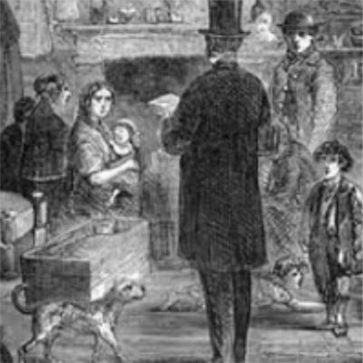 Census enumerator in a Gray's Inn Lane tenement, London