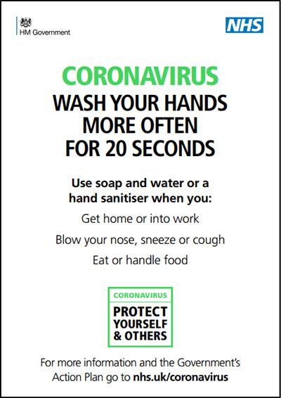 Coronavirus - Wash your hands more often for 20 seconds