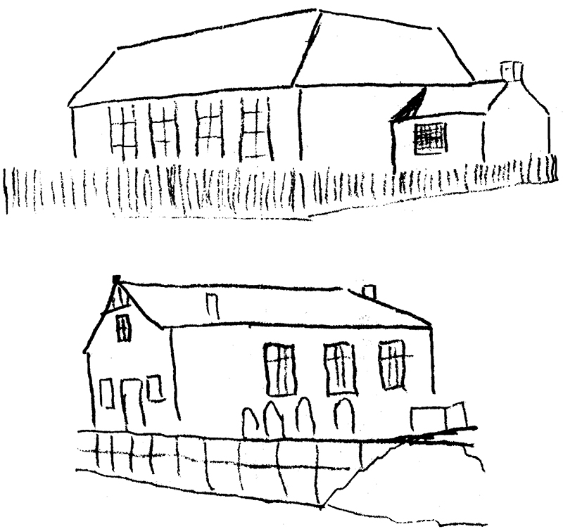 Pencil outline by J.B.E. of the Sketch of the First Chapel made by C.H.Spurgeon in 1846