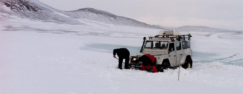 Land Rover stuck in snow drift