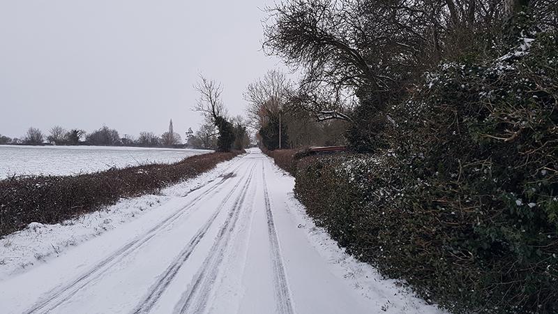 Snowy road, Stambourne Green - Winter 2021