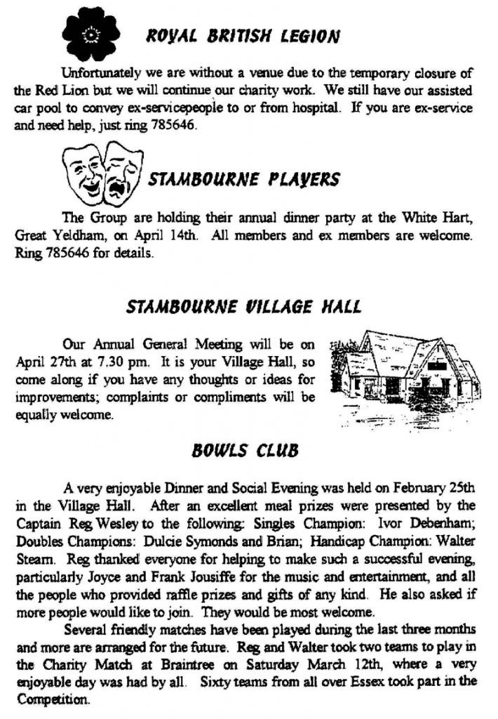 Stambourne Newsletter - 100th edition