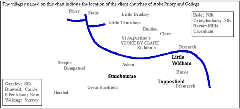 Location of client churches of Stoke Priory and College