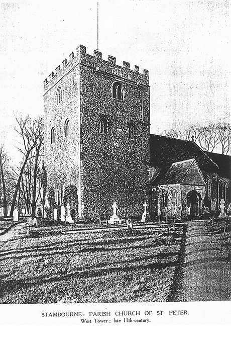 Stambourne Church - Illustration of the Tower as it was in 1904