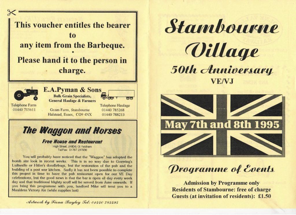 Stambourne VE VJ Programme 01