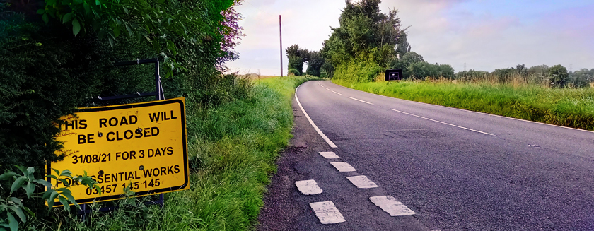 Stambourne - Road closure from 31st August 2021